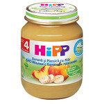 HIPP Био бебешко пюре ябълки, банани и праскови 4м+ 125 гр.